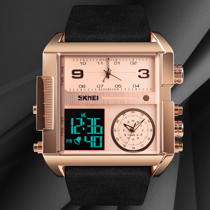 Rectangle luxe Top marque montre à Quartz hommes en cuir affaires montre bracelet chronographe étanche Quartz montre mâle horloge-in Montres femme from Montres    3