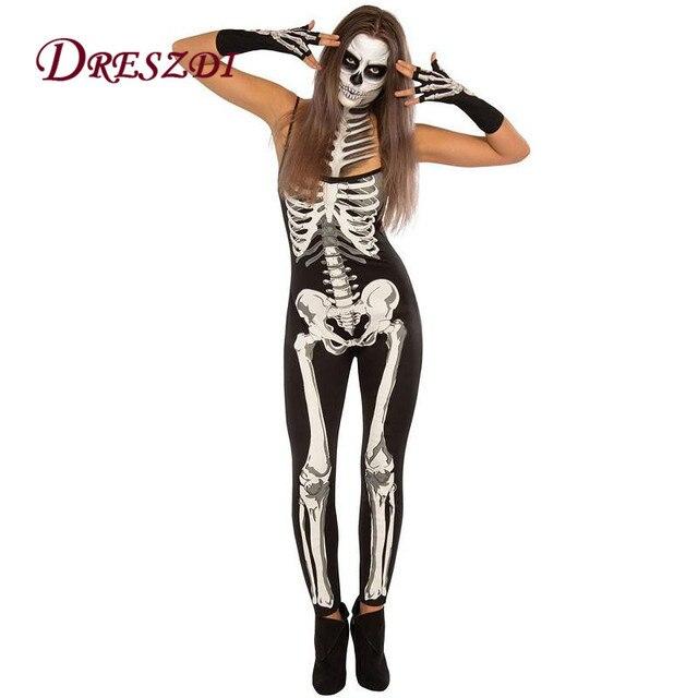 Dreszdi Coole Gedruckt Skeleton Cosplay Tragen Halloween Kostume