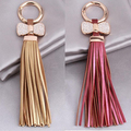 Women Bow Faux Leather Tassels Car Keychain Lovers Key Ring Bag Chain