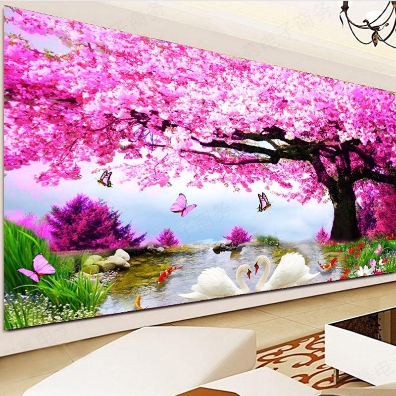 Teljes gyémánt hímzés, Sakura Swan Scenery 5D gyémántfestés, - Művészet, kézművesség és varrás