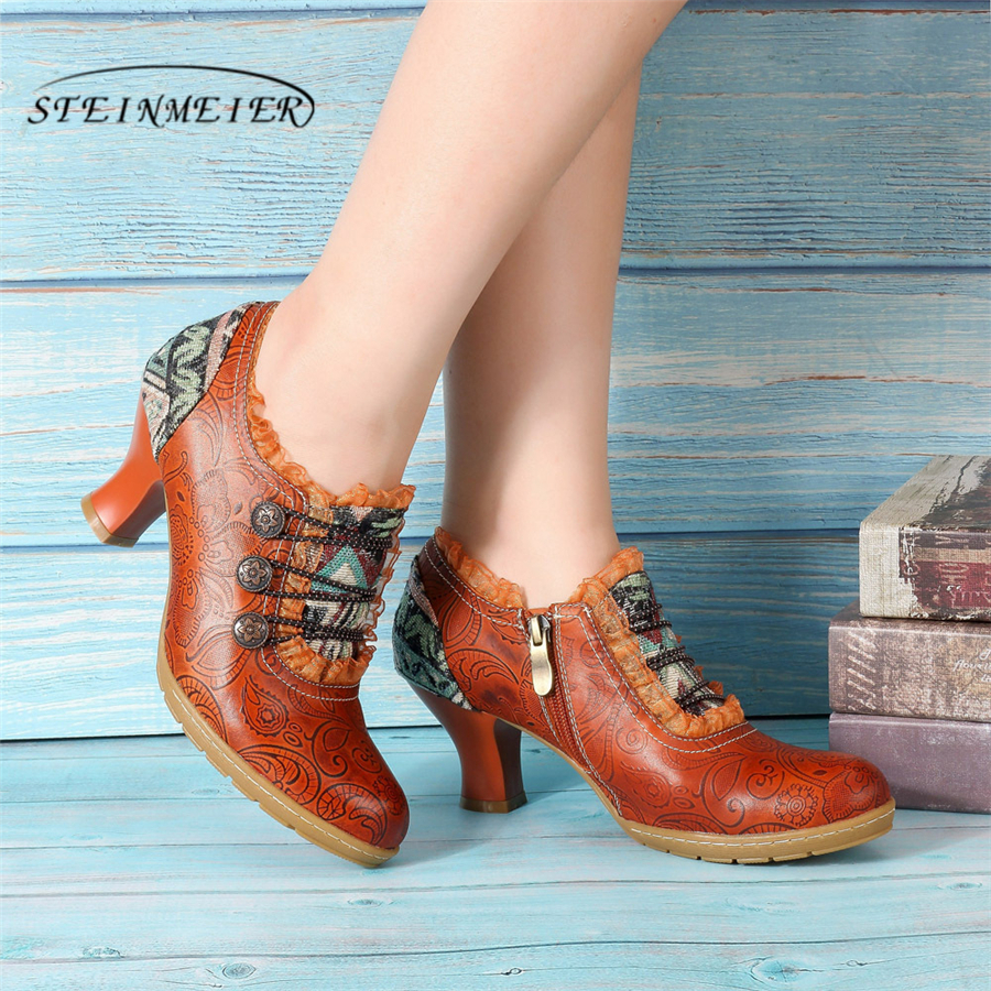 Genuine cow leather Retro Court lady Pumps casual shoes vintage women handmade oxford shoes for women
