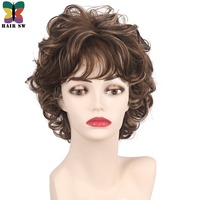 HAIR SW Short Cut Curly Synthetic hair ladies Natural Fluffy Layered wig Silver Gray/Brown/Blonde mixed color Wig with bangs