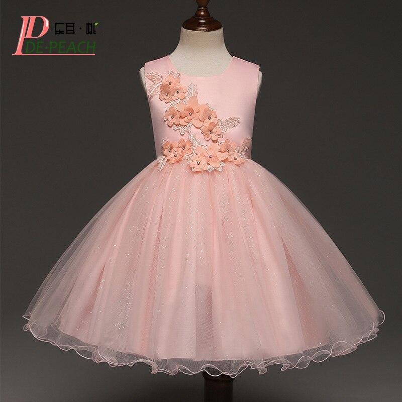 DE PEACH New Kids Flowers Solid Color Dresses Baby Girls Sleeveless Wedding Dress Princess Lace tutu Party Dress Girls Clothes
