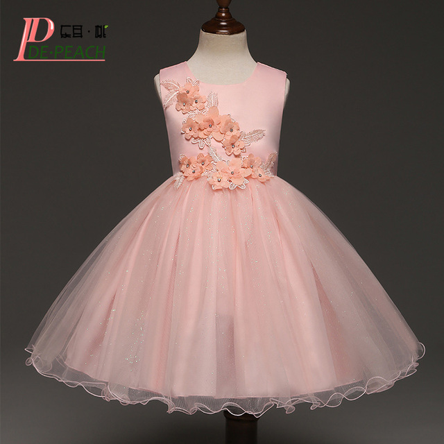 DE PEACH New Kids Flowers Solid Color Dresses Baby Girls Sleeveless ...