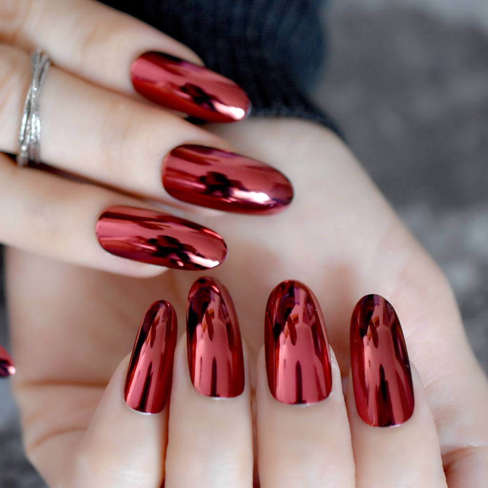 Gorgeous Mirror Acrylic Nails Red Wine Round Extra Long False Nails ...