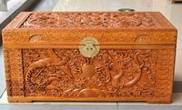 Zhangmu dragon pearl wood insect trunk box containing gift box wedding wedding dowry box painting box