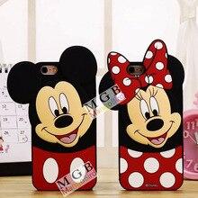 Bonito Dos Desenhos Animados 3D Mickey Minnie Mouse Orelhas de Inclinação Suave Tampa Traseira da pele para o iphone 5 5s 6 6 s 7 mais telefone silicone caso