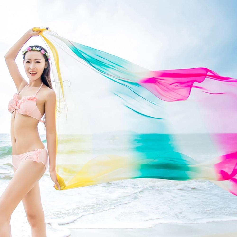 8c421b8ea8b 2018 Fashion Scarves Beach Pareo Summer Women Chiffon Shawls Scarf Swimwear  Bikini Cover Up Shawls Sarong Wrap-in Women s Scarves from Apparel  Accessories ...