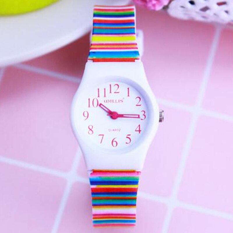 2018 Children Students Simple Fashion Quartz Watches Men Women Stripe Soft Waterproof Sports Casual Mini Wristwatches
