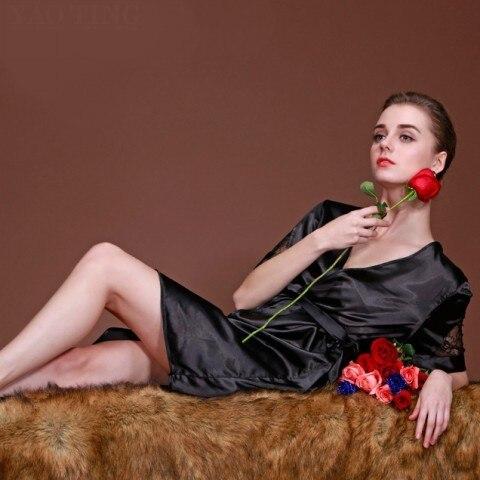 Женщин Сексуальное Короткое Шифоновое Одеяние Устанавливает Летний Пижамы Мягкая Гостиная Сна Нижнее Белье мягкий атлас гладкая bind шелк комфортно платье