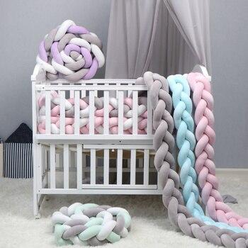 Бампер для новорожденной кроватки, 1 м/2 м/3 м, чистый Плетеный плюшевый бампер с узлом для кроватки, детская кровать, защита для кроватки, деко...