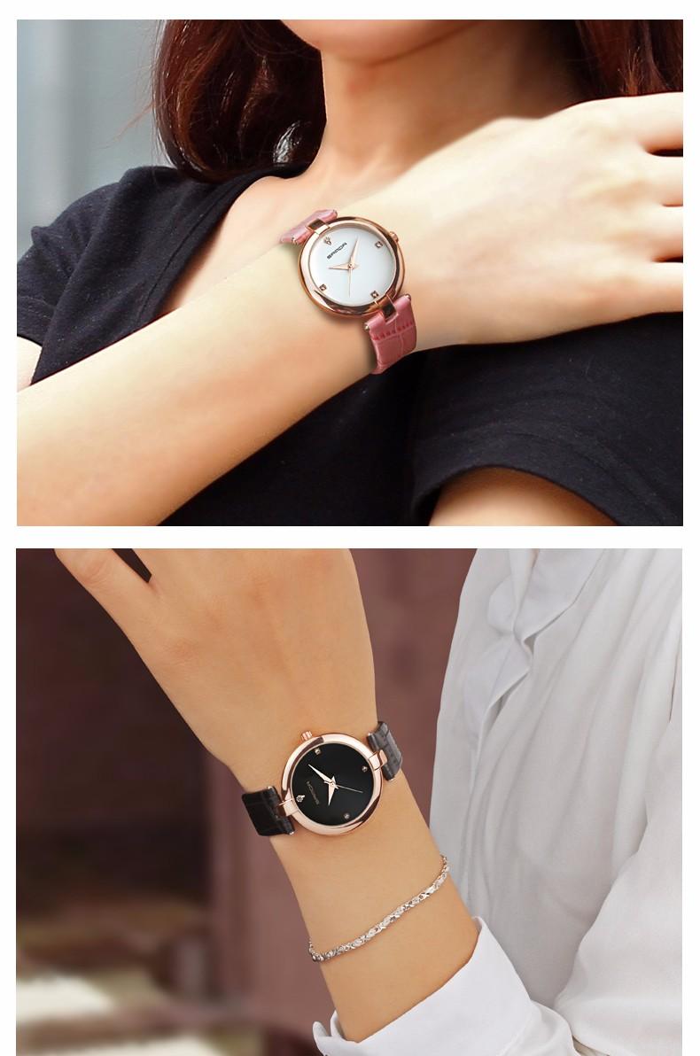 7 Montres à Quartz bracelet en cuir mode chic pour femmes