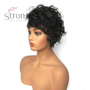 Image 4 - StrongBeauty Frauen Synthetische Capless Perücke Braun Pixie Cut Haar Asymmetrische Side Bang Kurze Lockige Perücken