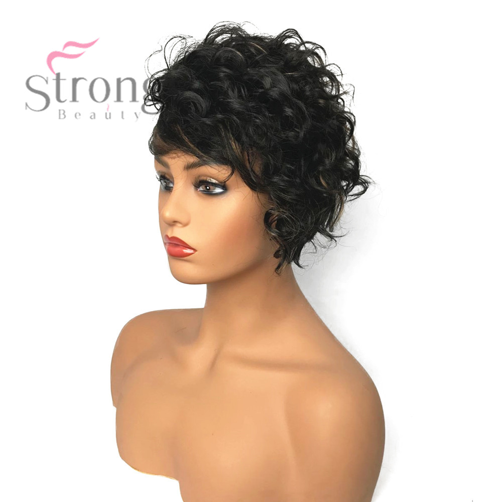 pixie haircut wigs synthetic capless brown pixie cut hair asymmetrical side 5341 | StrongBeauty Women Synthetic Capless Wig Brown Pixie Cut Hair Asymmetrical Side Bang Short Curly Wigs