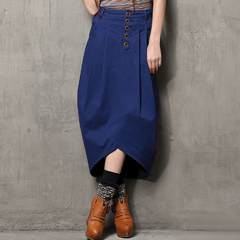 Summer Style Skirt 2017 Yuzi New Casual Washed Denim Skirts Asymmetrical Middle Waist Cotton Saia Feminina X3511 Long Maxi Skirt