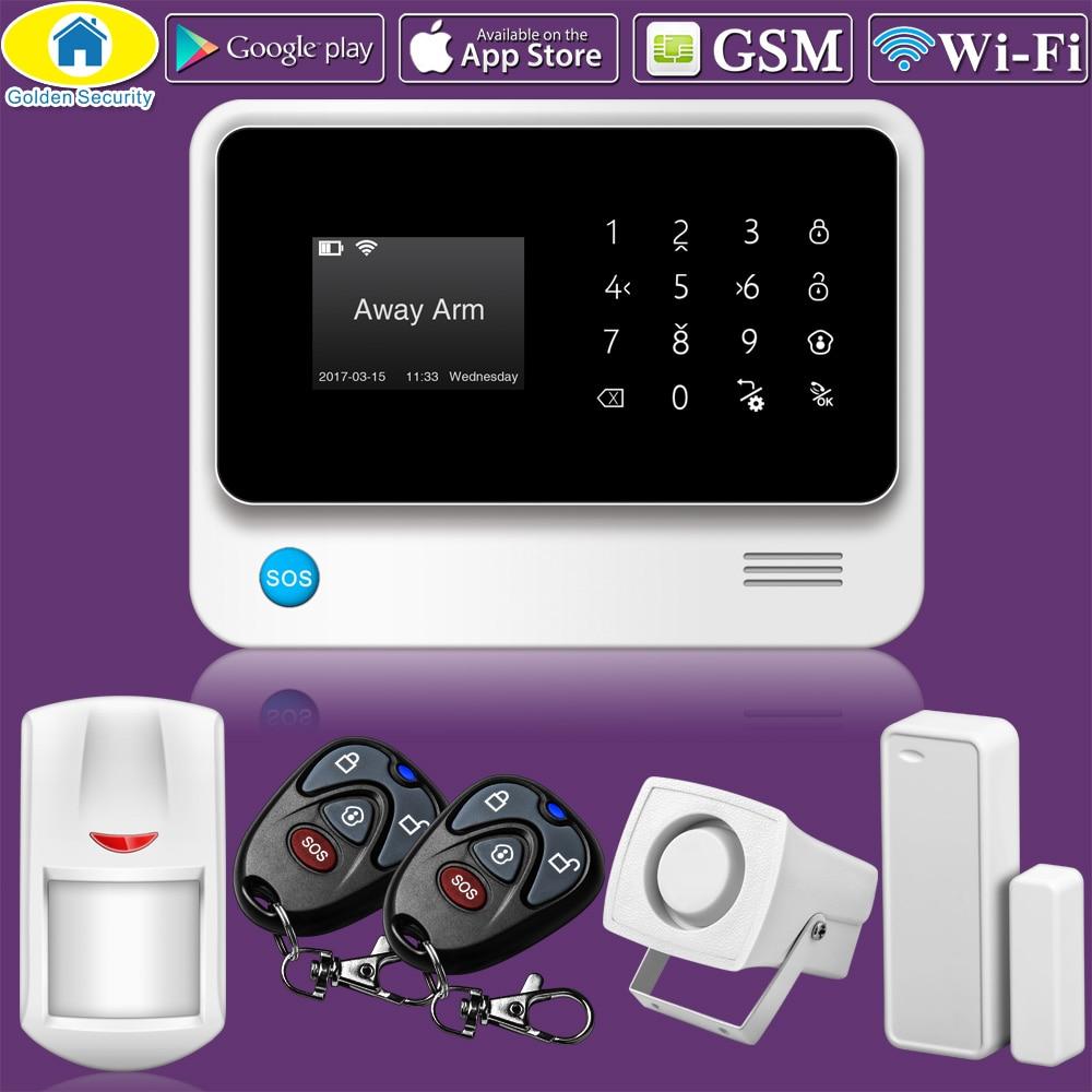 Golden Security G90B WiFi GSM Home Alarm System 2G Wireless Security Alarm SMS Alert Alarm System PIR Sensor 110dB Sirens
