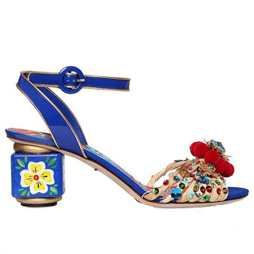 2017 Fashion Blue Flower Print Gladiator Sandals New Designer Women Pumps Handmade High Heels Wedding Shoes Woman Pom Pom Sandal fashion buttons rivet studs high heels designer gladiator sandals red black women pumps party dress sexy wedding shoes woman