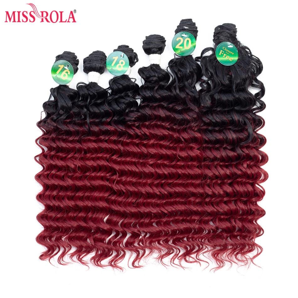 Синтетические волосы для наращивания Miss Rola, глубокая волна, 200 г, 16-20 дюймов, 6 шт./упак. для женщин