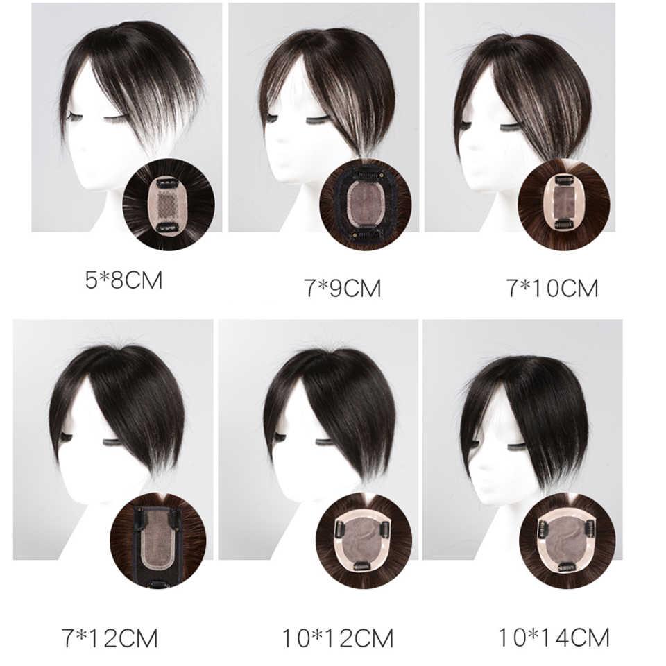 AOSI женский мужской парик челка белок шелк прямые ручной работы волосы Топпер шиньон верхний кусок синтетический термостойкий закрытие