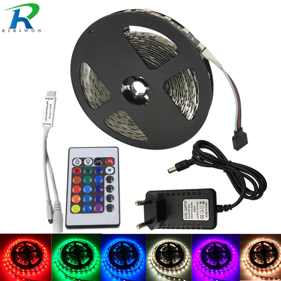 5M Black RGB LED Strip DC 12V SMD 5050 Not Waterproof Flexible Tape Ribbon Colorful Rope