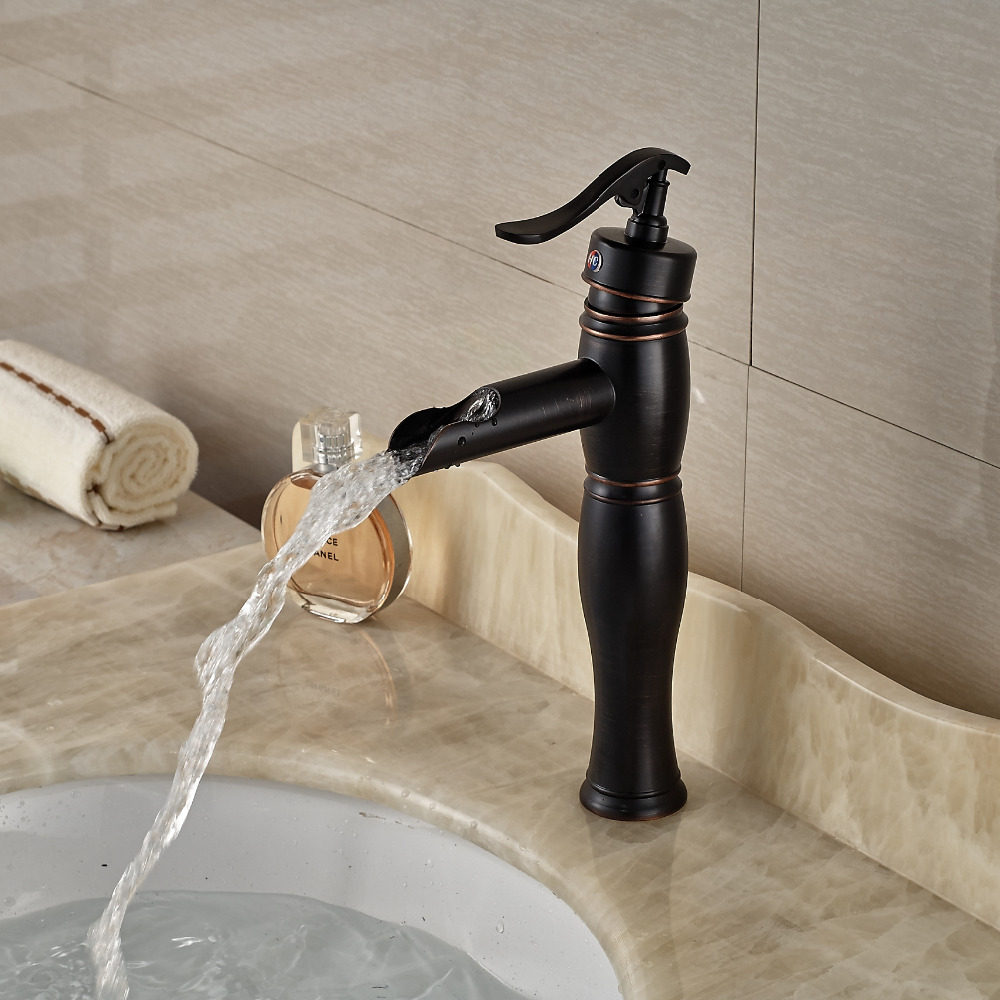 Oil Rubbed Bronze Single Handle Washroom Basin Mixer Taps Deck Mount with Hot Cold Water deck mount single handle hot