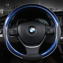3D Спорт рулевого колеса автомобиля Чехлы для мангала Micro Волокно Кожа двухцветный Дело руль авто Салонные аксессуары цвет: черный, синий