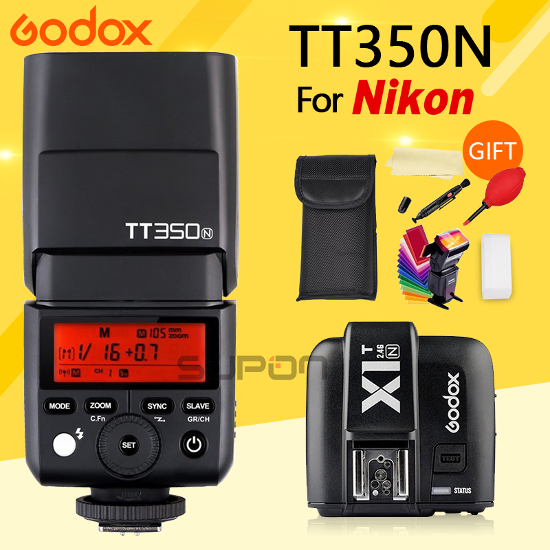 GODOX Flash TT350N 2.4G HSS 1/8000s TTL GN36 Flash Speedlite + X1T-N Wireless Trigger Transmitter for Nikon Camera godox v860ii n v860iin gn60 i ttl hss 1 8000s speedlite flash w li ion battery x1t n flash transmitter optional for nikon