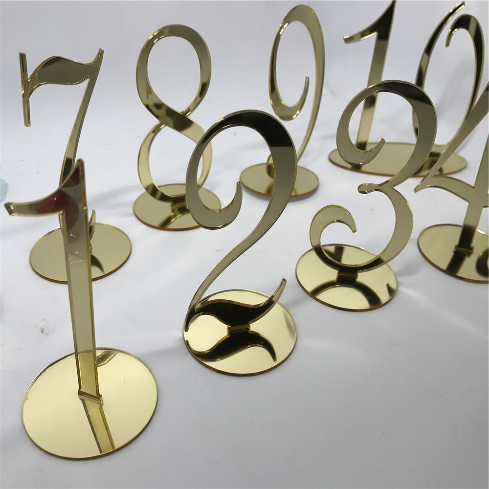Acrylic Table Numbers for Weddings and Events Standing Numbers Gold ...