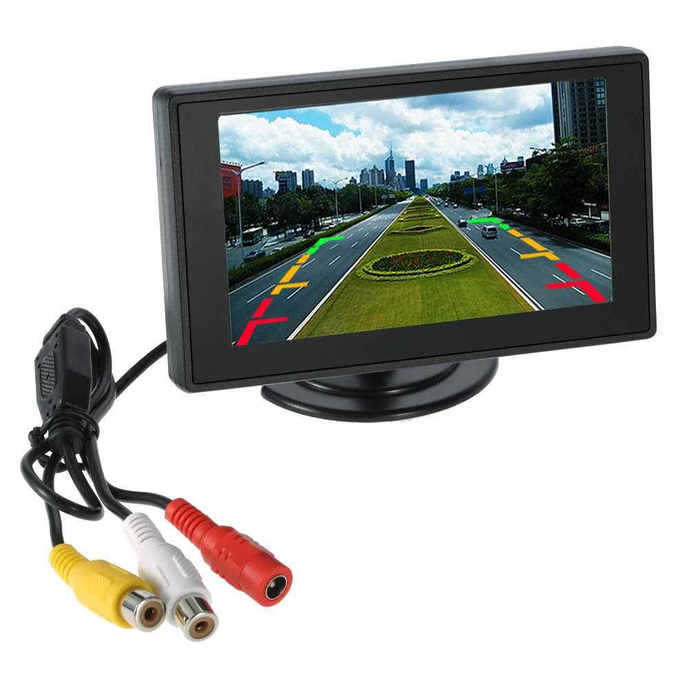 """Professional 4.3"""" LCD Car Monitor Mirror Video Players for Rearview Camera VCD <font><b>DVD</b></font> + Suction <font><b>Cup</b></font> Bracket"""