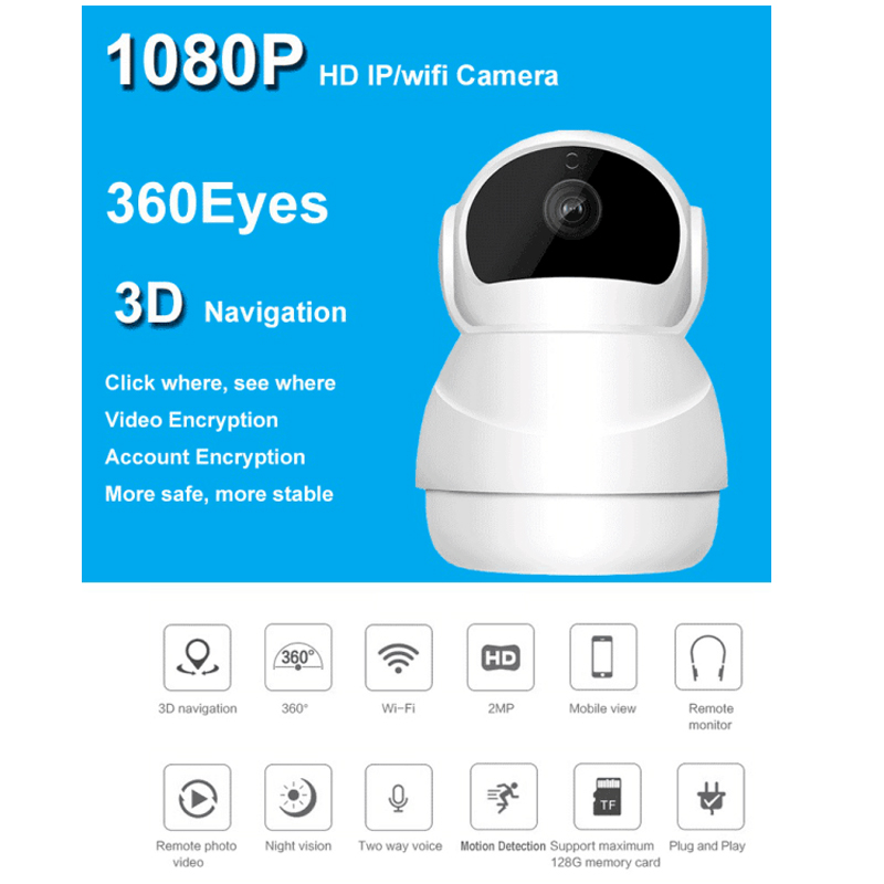2MP Wireless Wifi Camera P2P IP Camera 128G TF Motion Detection 360 Degree Rotation View Security CCTV Camera