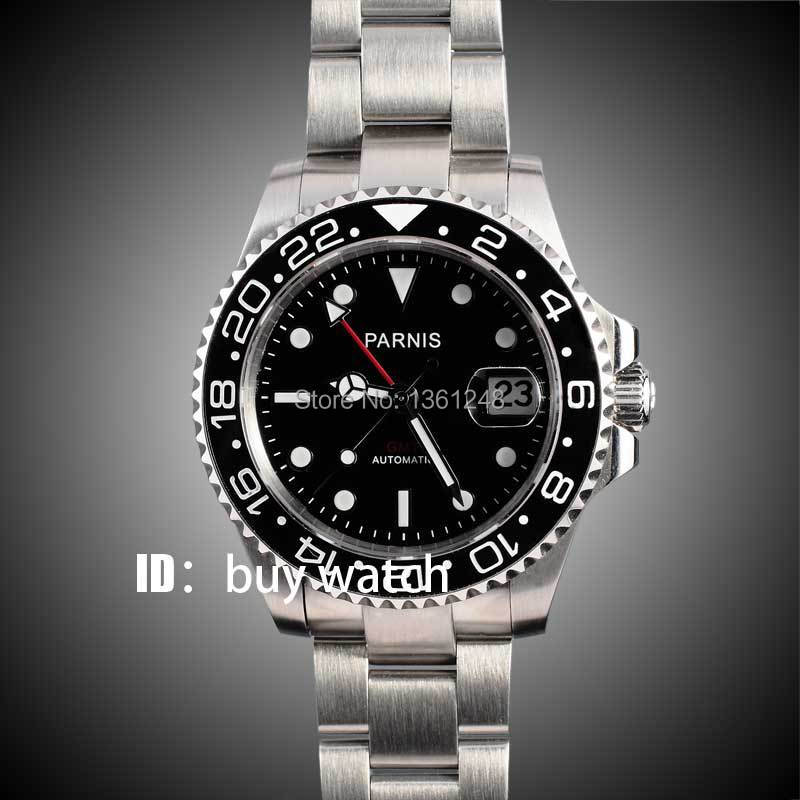 40mm Parnis black dial Sapphire glass Ceramic bezel red GMT hands date automatic mens watch 146 44mm parnis black dial red gmt sapphire glass st automatic mens watch p777