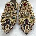 2016 Estilo Retro Jóias de Cristal Dedo Apontado Sapatos Baixos de Luxo Apontou Toe Sapatos de Festa Strass Deslizamento Em Sapatos Bordados Mulher