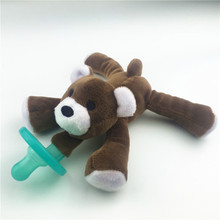 Cute Newborn Baby Kids Toy Dummy Nipple Soother Silicone Orthodontic Pacifier Lovely Animal Plush Giraffe Pacifier Clips Girl cute newborn silicone funny baby pacifier clips chain animal pacifiers with plush toy soother nipple dog monkey worm anz01