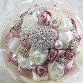 Дешевые Свадебные Свадебные Букеты Искусственные Кружева Атласные Розы Жемчуг Кристалл Невеста с Цветами в Руках Невесты Брошь
