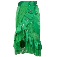 Punk Green Front Buckled Inelastic Waist Ruffle Satin and Floral Lace Asymmetrical Mermaid Skirt Gothic Skirts Womens Plus Size