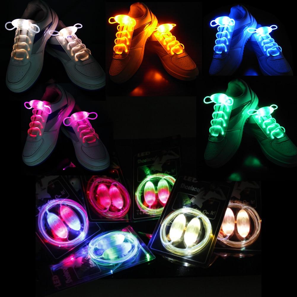 1 Pair New LED Shoelaces Luminous Flashing Shoe Laces Disco Party Light Up Glow Nylon Strap pair of creative luminous led flashing gloves for party ball festival
