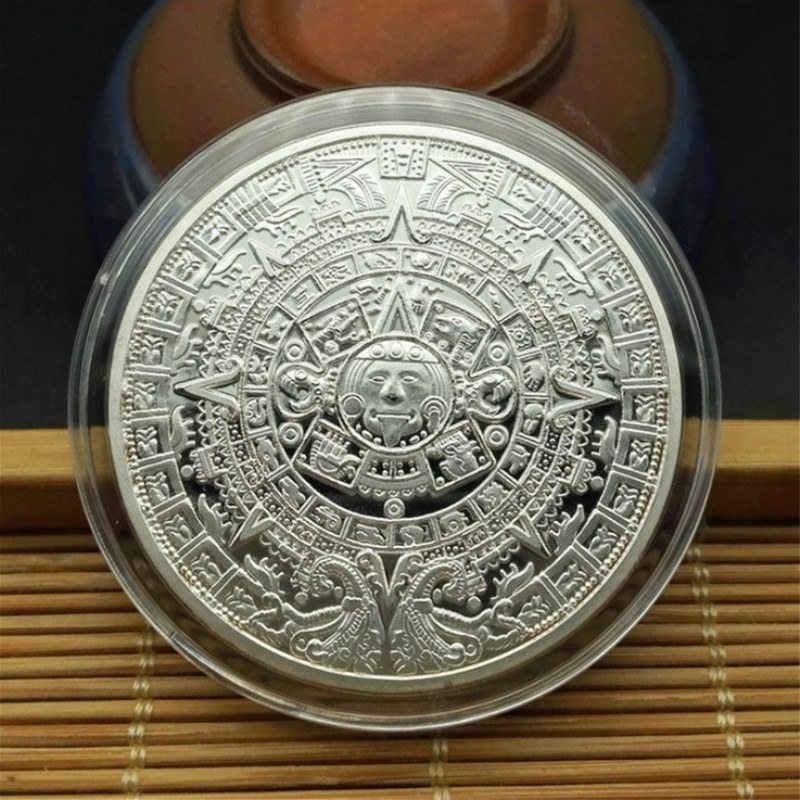 Prata Banhado A moeda de Ouro Asteca Maia Profecia Calendário Moeda Comemorativa Coleção de Arte Presente