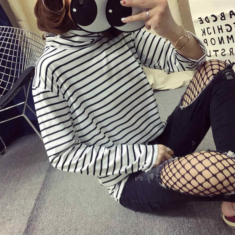 c28e400d813305 ... Women Turtle Neck Long Sleeve T Shirts High Neck Top Base Shirt Solid  Color/Striped