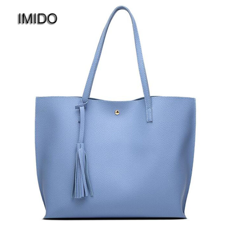 IMIDO Cheap Tote Bags Handbags Women Famous Brand Designer Handbag High Quality PU Leather Ladies Shoulder Bag Black Blue HDG017  nnew fashion women shoulder bags casual tote messenger bags famous designer pu leather high quality ladies handbags tfd171