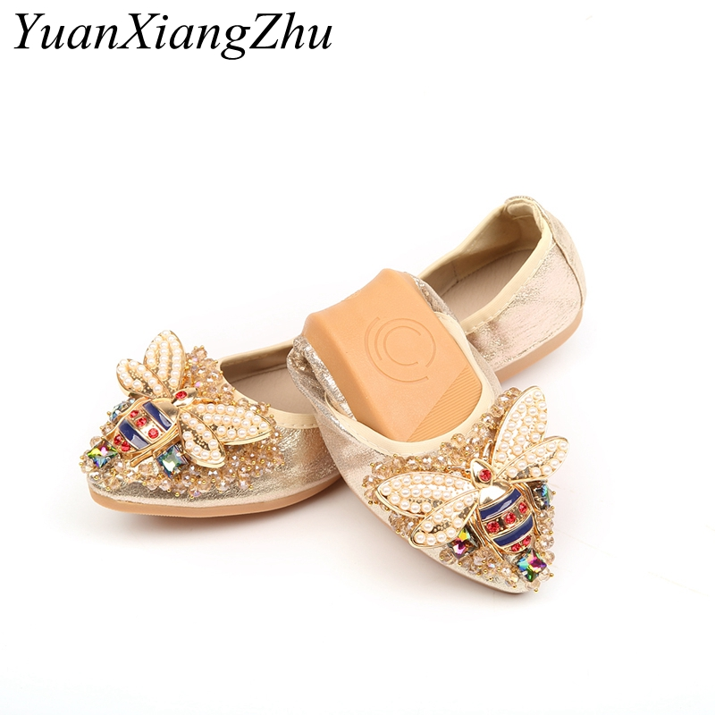 Plus Size 34-45 Designer Crystal Woman Flat Shoes Summer New Bee Rhinestone Ballet Women Shoes Ladies Flats Single Shoes Loafers 2018 new boat shoes sheepskin leather pregnant women shoes summer flat bowknots royal blue plus size 40 41 ballet flats female