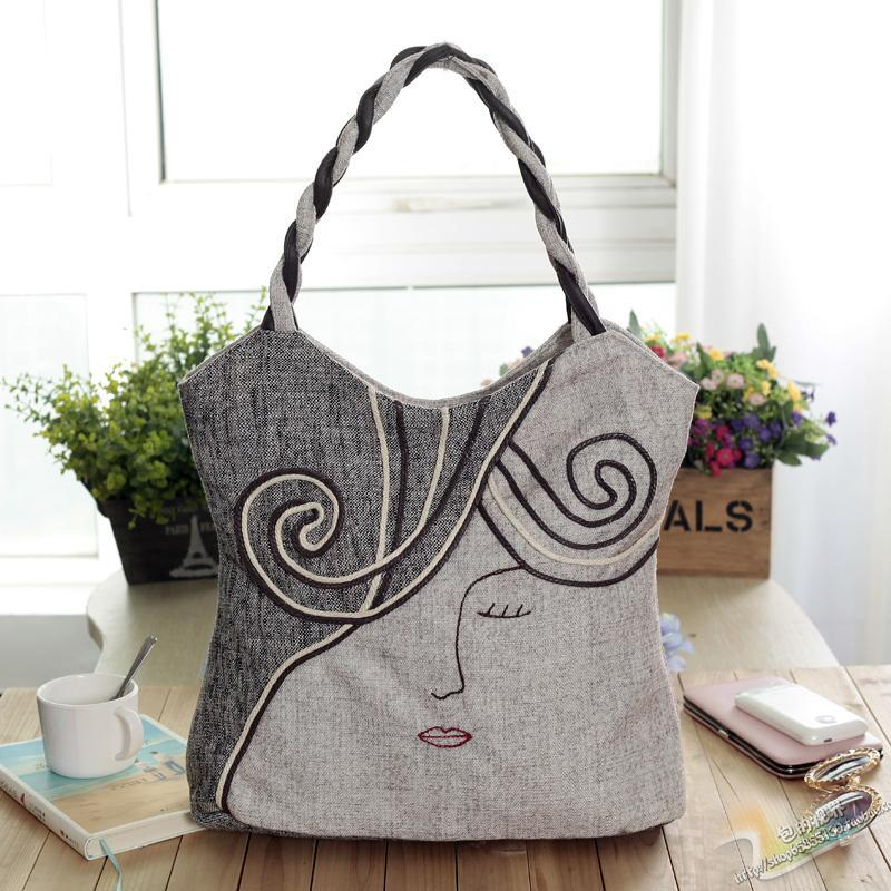 Free Shipping! Top-wholesale Appliques Lady Cute handbags cloth carry bag new nation style party bag art type bags