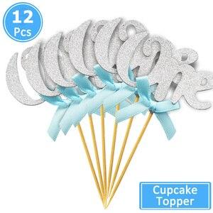 Image 3 - Heronsbil 10 pcs 첫 번째 생일 반짝이 종이 1 컵케익 toppers 1 생일 파티 장식 내 1 년 아기 소년 소녀 용품