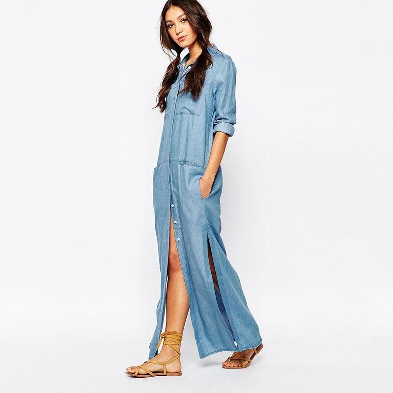 f2d0791220d Женские Костюмы сезон  весна–лето макси с длинными рукавами платье из  джинсовой ткани Повседневная