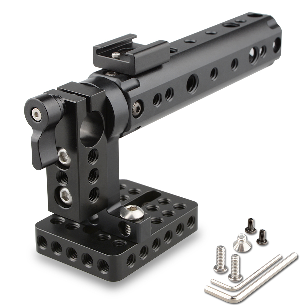 CAMVATE Camera Video Cage DSLR Top Handle Rig + 15mm Rod Clamp 1/4 Cold Shoe Mount For Canon 7D Sony A7 Foto Kit C1153