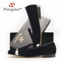 Piergitar New Style Handmade Men Navy Velvet Shoes With Gold Metal On Shoes Toe Fashion Party