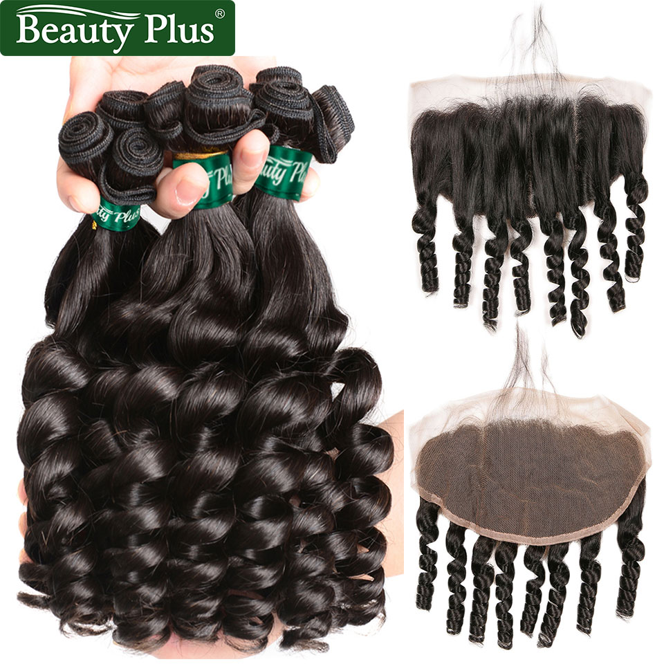 Funmi Curly Frontal With Bundles Brazilian Human Hair Weave And Lace Frontal Free Part Beauty Plus Remy 3 Bundles With Frontal