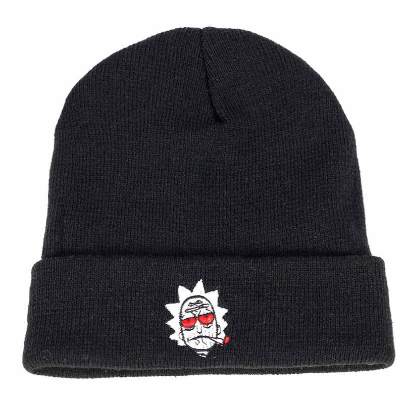 327915a5 ... Rick and Morty Winter Knit Caps Red Eye Rick Smoking US Hats New Brand  Embroidery Warm ...