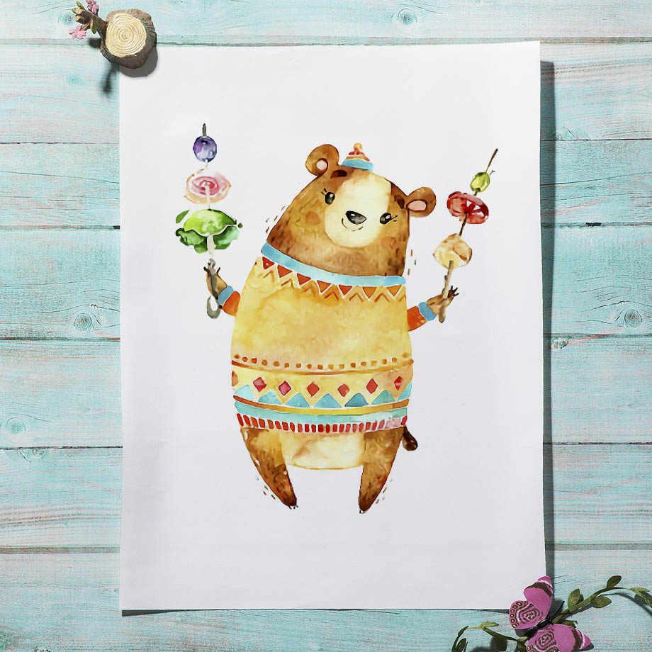 Gấu Hươu Thỏ Cáo Sóc Vườn Ươm Bắc Âu Áp Phích Và In Hình Nghệ thuật treo Tường Vải Bố Tranh Treo Tường Hình Bé Trẻ Em Phòng Nhà trang trí