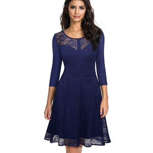 Image 3 - Nice forever Vintage Embroidery Flower Lace vestidos Sexy Hollow O Neck A Line Pinup Business Women Flare Dress A072