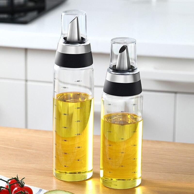 Botella dispensadora de aceite de oliva vinagre y salsa de soja 180ml botella de vidrio ZZM para ensalada recipiente para aceite sin goteo